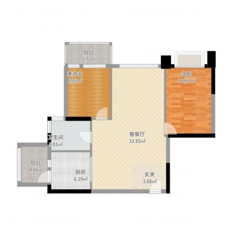 银湖山庄五期1室1厅1卫1厨104.00㎡户型图