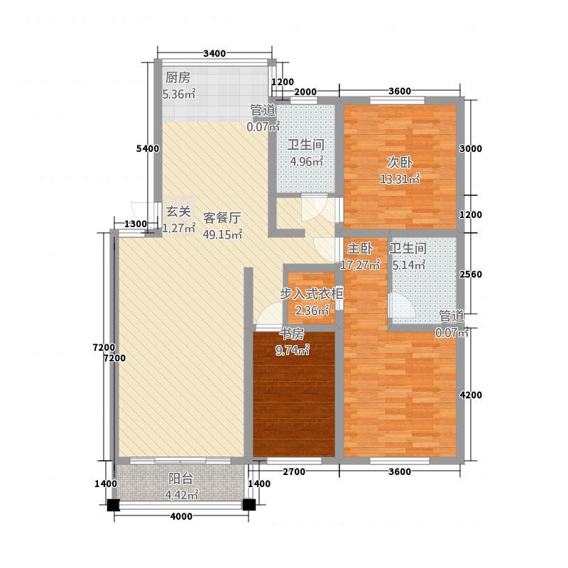 禹都华庭127.60㎡多层户型3室2厅2卫1厨