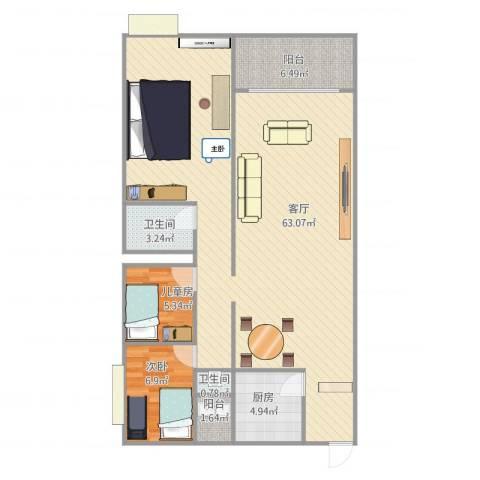 乐宜居旭景阁2室1厅2卫1厨124.00㎡户型图