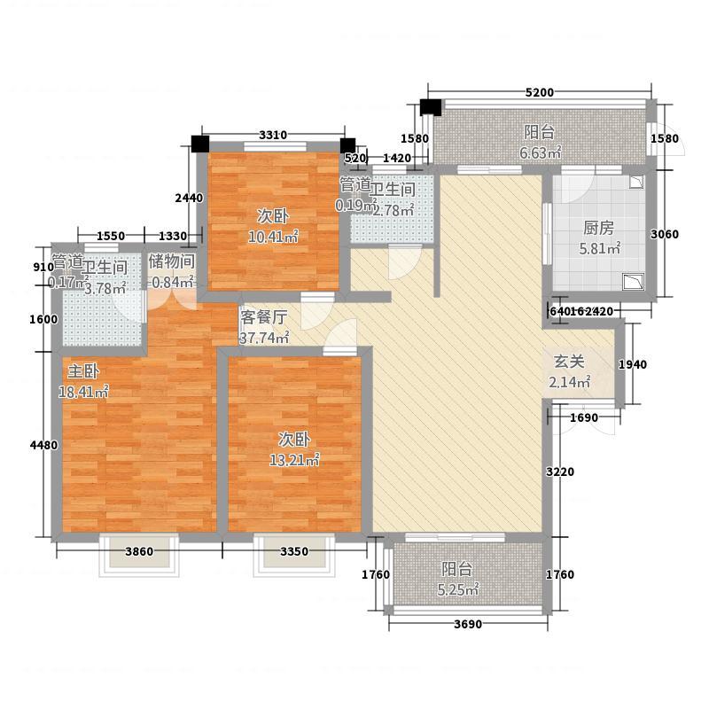 世茂世纪中心154.20㎡三期世茂尚城9、10号楼D户型3室2厅2卫1厨