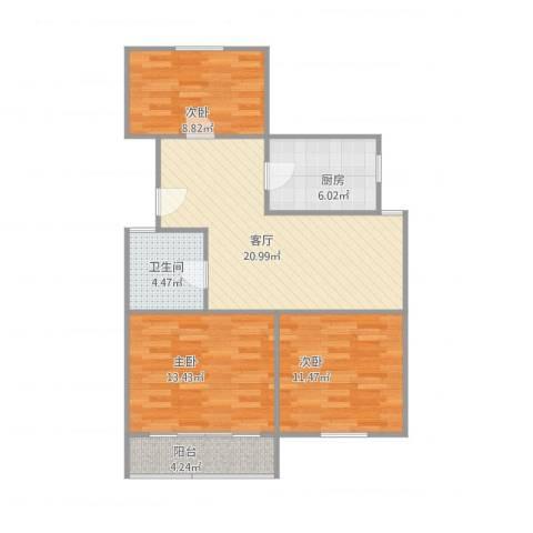 富康新村3室1厅1卫1厨94.00㎡户型图