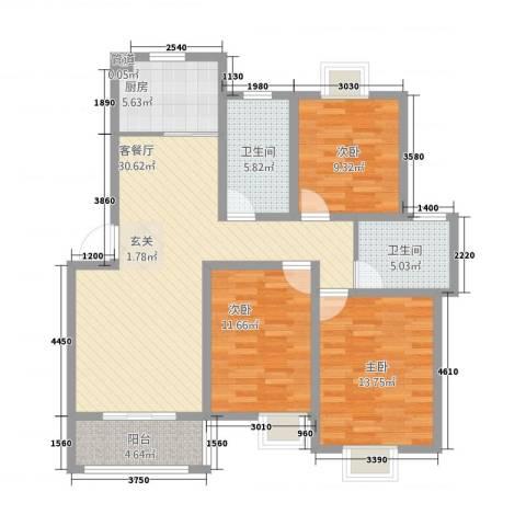 通澄花园3室1厅2卫1厨125.00㎡户型图