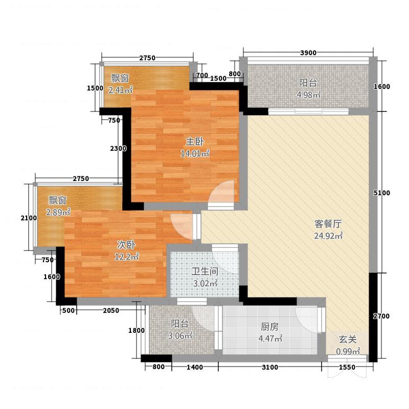 润洲江山城82.45㎡一期6号楼4号房标准层户型2室2厅1卫1厨