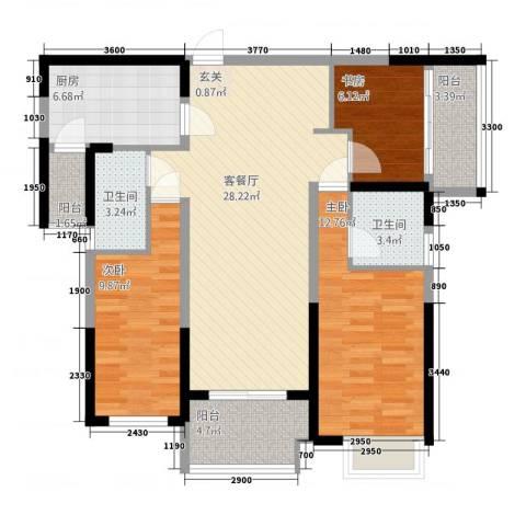 保利建业・香槟国际3室1厅2卫1厨116.00㎡户型图