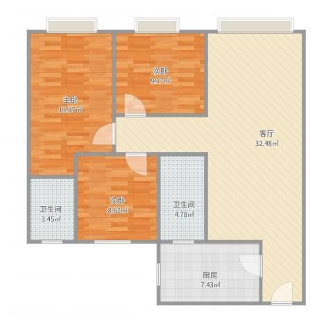 湖山花园3室1厅2卫1厨85.94㎡户型图