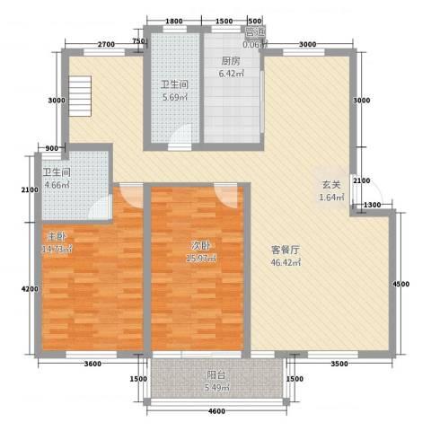 东方华庭2室1厅2卫1厨112.47㎡户型图
