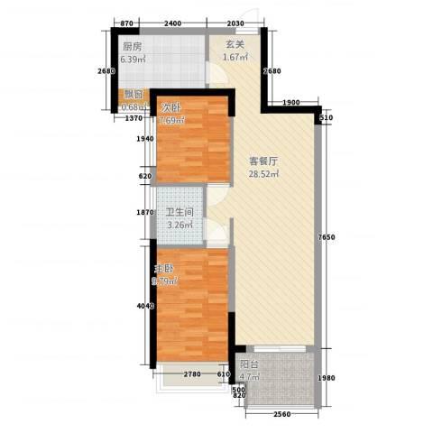 保利建业・香槟国际2室1厅1卫1厨86.00㎡户型图