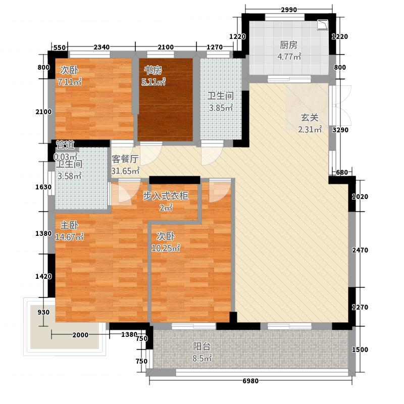 华章御树湾57112.20㎡5#7#F1户型3室2厅2卫1厨