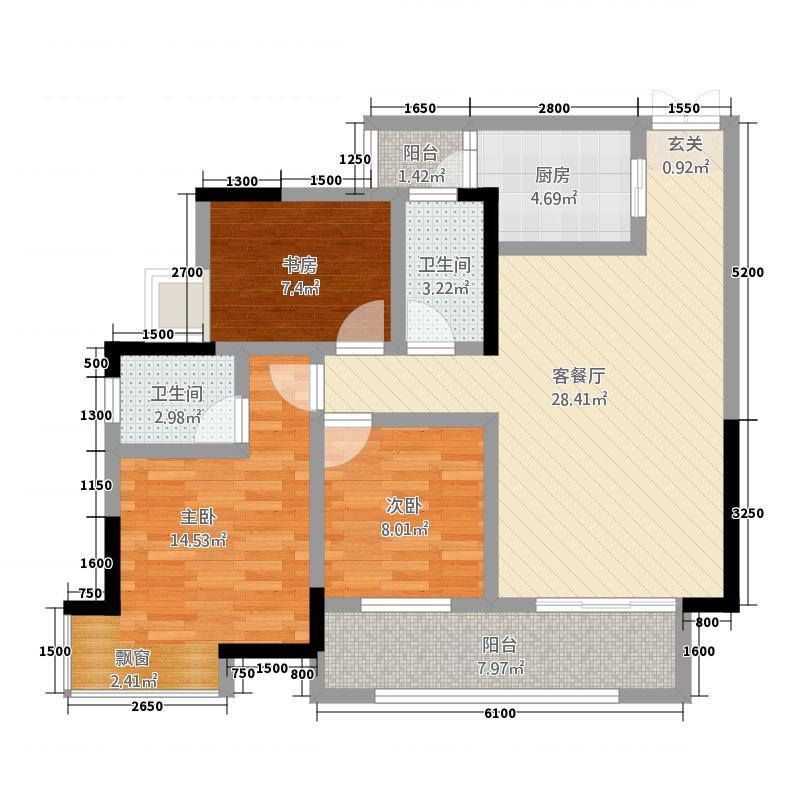 润洲江山城14.27㎡一期6号楼2号房标准层户型3室2厅2卫1厨