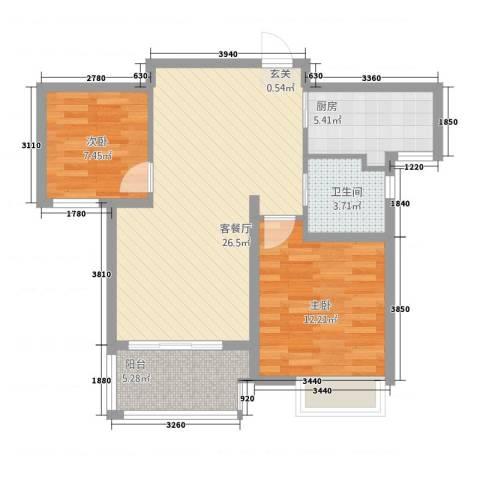 满庭芳2室1厅1卫1厨86.00㎡户型图