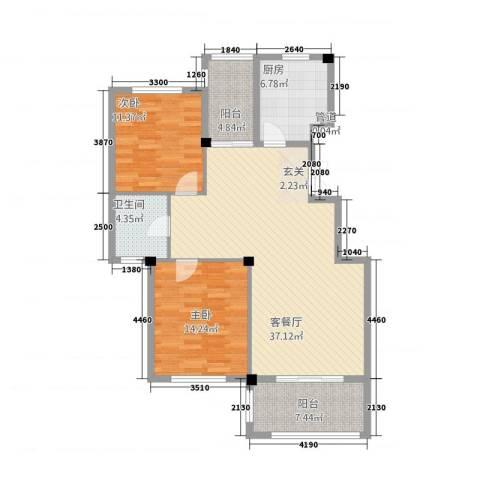 金溪园2室1厅1卫1厨22215.00㎡户型图