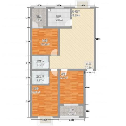 银信博雅世家3室1厅2卫1厨2315.00㎡户型图