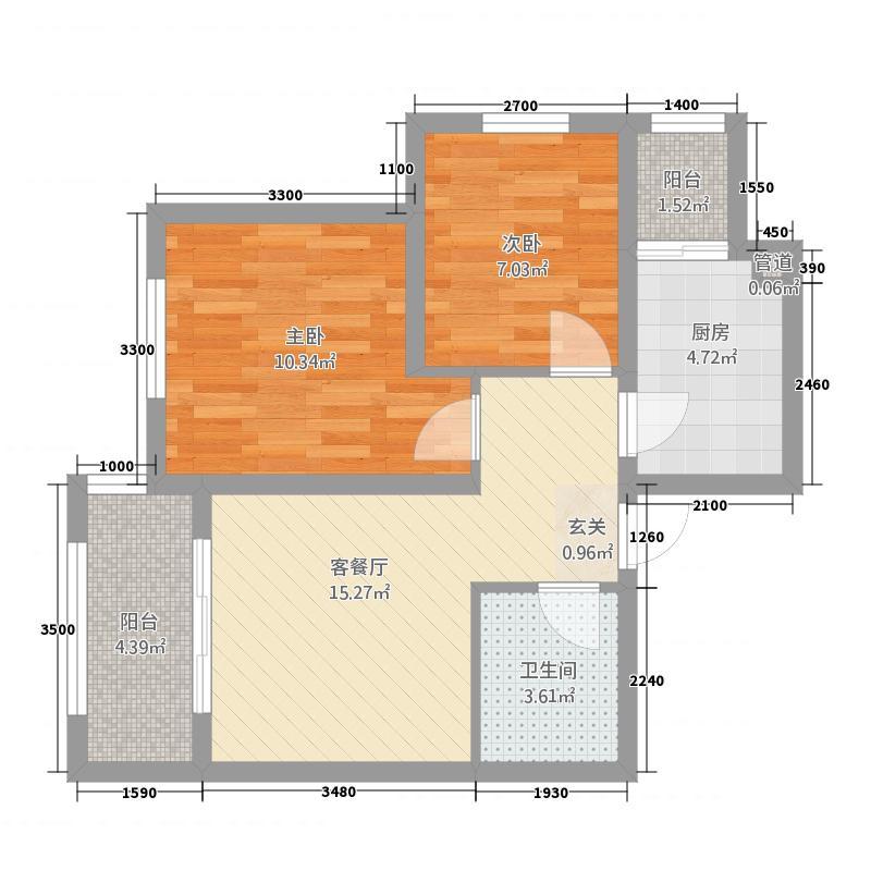 龙山国际267.85㎡户型2室2厅1卫1厨