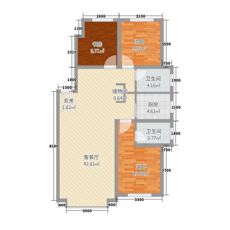 鸿基名苑32211.20㎡B户型3室2厅2卫