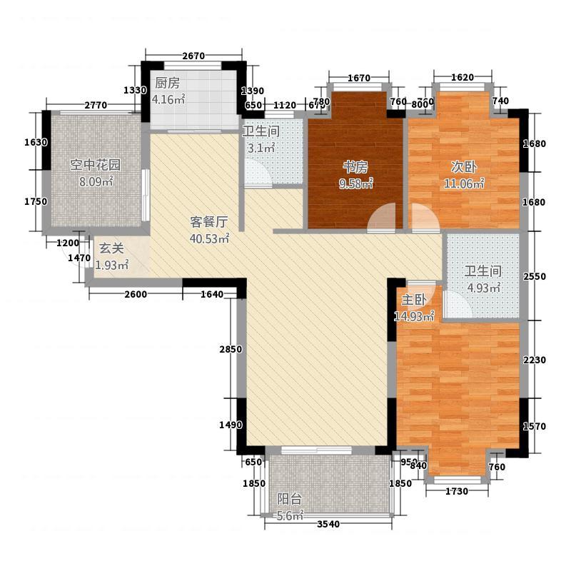 山河天仙水岸2123.88㎡A2户型3室2厅1卫1厨