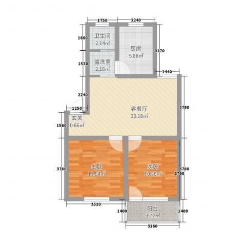 月亮湾2室2厅1卫1厨55.88㎡户型图
