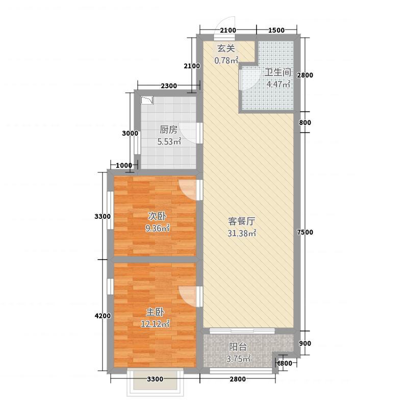 龙御湾3224.20㎡E3户型2室2厅1卫1厨