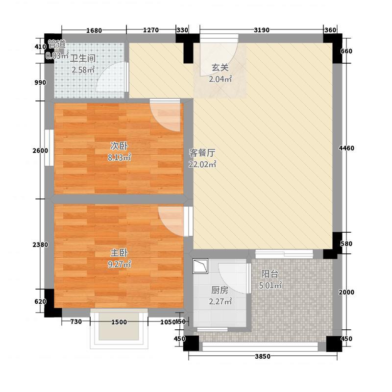 黑山青松岭73.00㎡一期1、2、3、4号楼标准层C户型2室1厅1卫1厨
