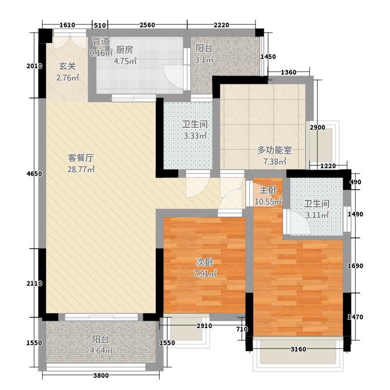 康德城18.40㎡5户型3室2厅2卫1厨