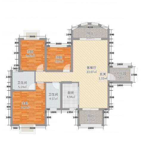 中央商务区CBD(南区)3室1厅2卫1厨91.64㎡户型图