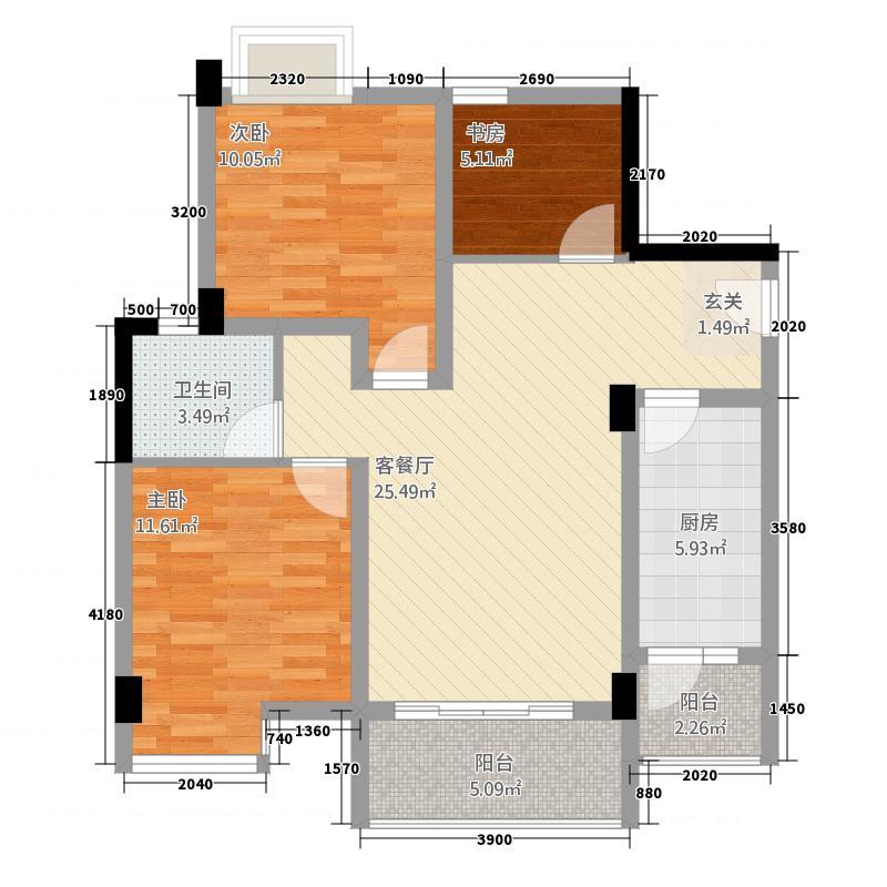 蜗居185.42㎡一期1栋标准层A2户型3室1厅1卫1厨
