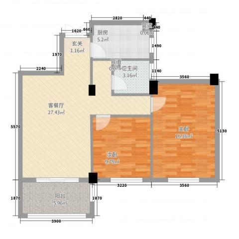 金溪园2室1厅1卫1厨22288.00㎡户型图