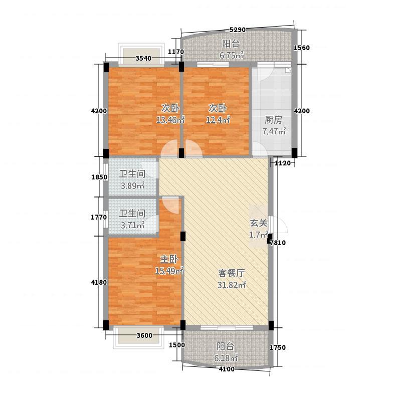 宏源大景城1442128.38㎡户型4室2厅2卫1厨