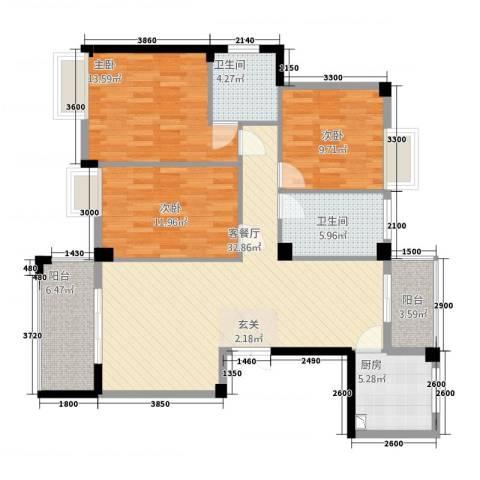 香岸华府二期春天里3室1厅2卫1厨128.00㎡户型图