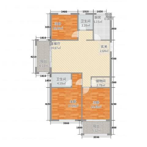 金溪园3室1厅2卫1厨322128.00㎡户型图