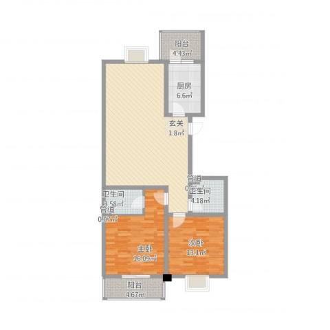 北方三角洲2室1厅2卫1厨103.20㎡户型图