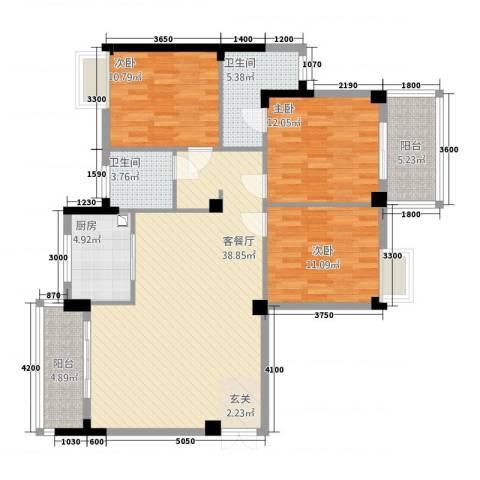 香岸华府二期春天里3室1厅2卫1厨97.22㎡户型图