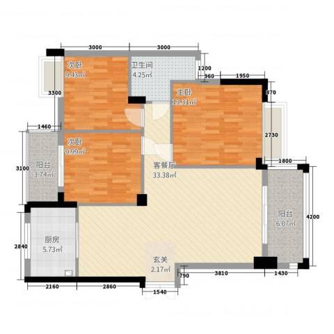 香岸华府二期春天里3室1厅1卫1厨113.00㎡户型图