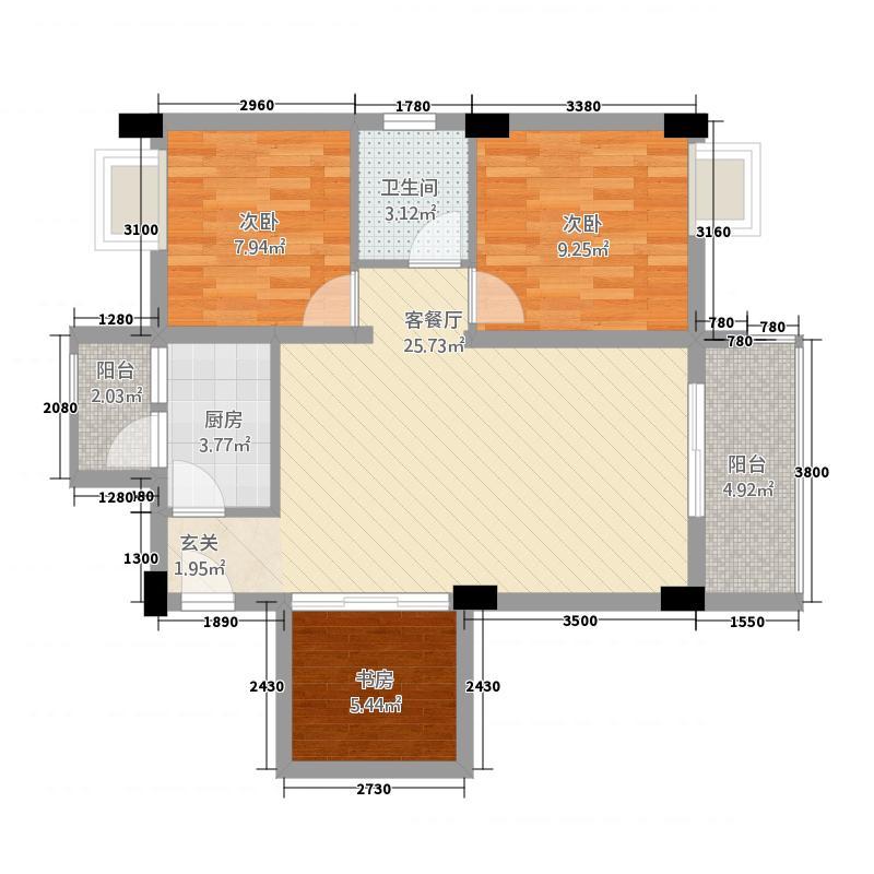 蜗居17.22㎡一期1栋标准层B1户型3室1厅1卫1厨