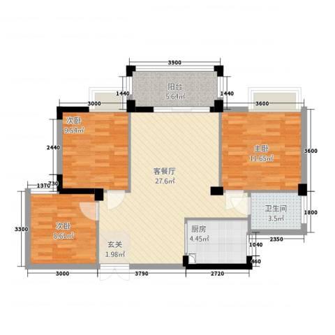 香岸华府二期春天里3室1厅1卫1厨71.24㎡户型图