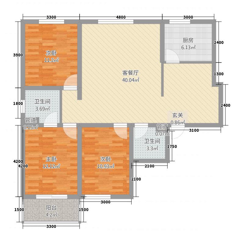 龙御湾132133.20㎡C1户型3室2厅2卫1厨