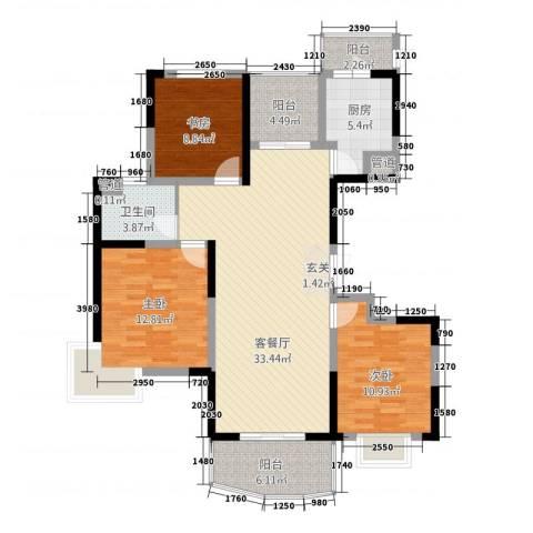 东辉铂领3室1厅1卫1厨127.00㎡户型图