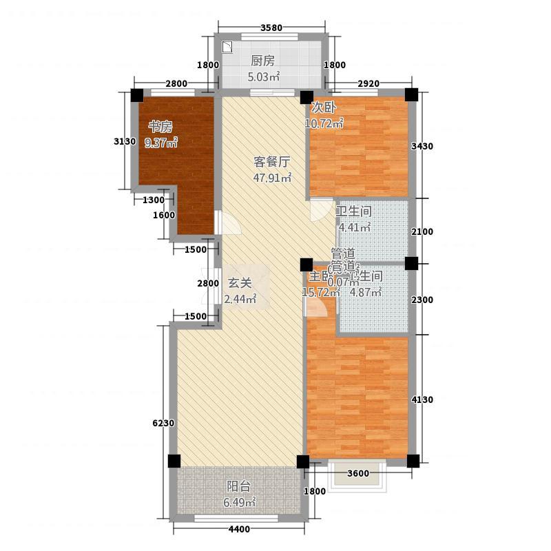 中豪・润园135.73㎡F户型3室2厅2卫1厨