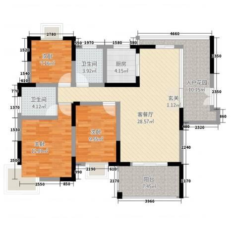 东辉铂领3室1厅2卫1厨128.00㎡户型图