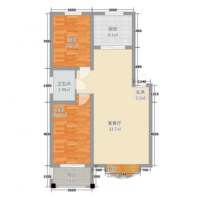 水岸帝景228.62㎡B户型2室2厅1卫1厨