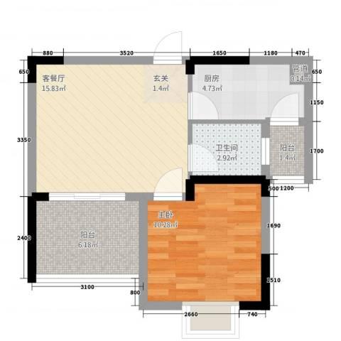 半岛阳光1室1厅1卫1厨41.47㎡户型图