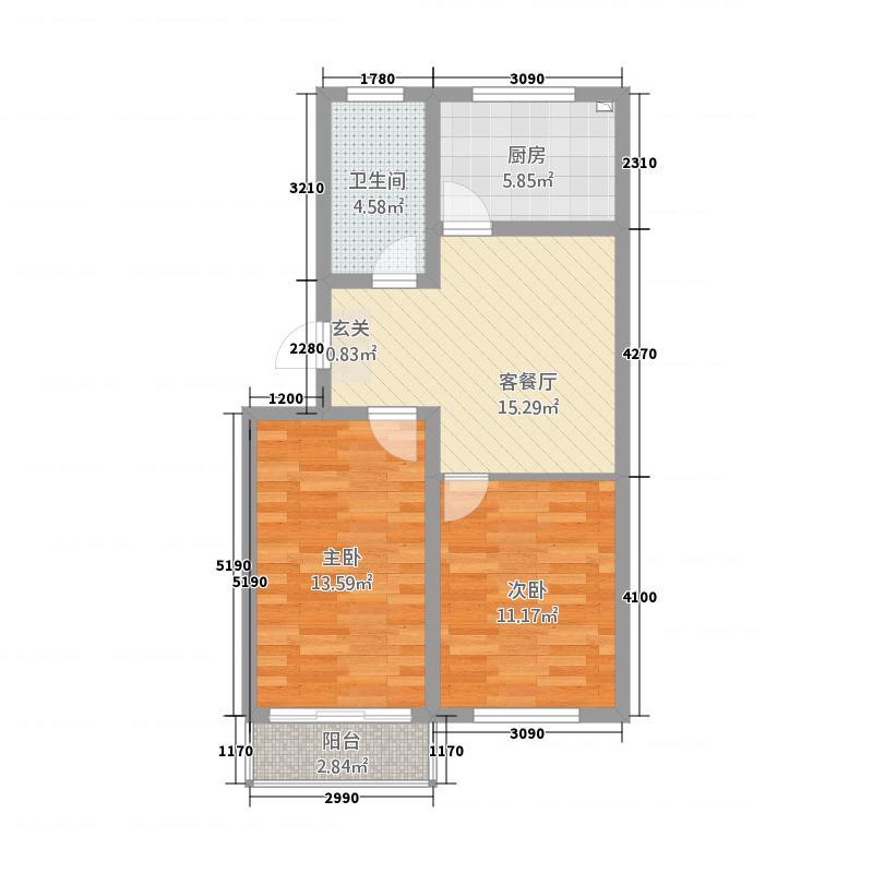 东佳花园147777.20㎡1-4号楼套二户型2室1厅1卫1厨