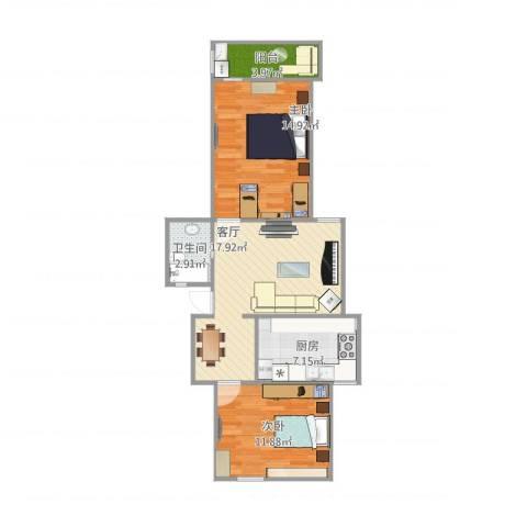 虹园六村2室1厅1卫1厨79.00㎡户型图