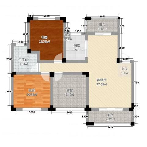 万成香格里拉2室1厅1卫1厨73.99㎡户型图