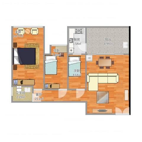 金地梅陇镇三期3室1厅1卫1厨90.00㎡户型图