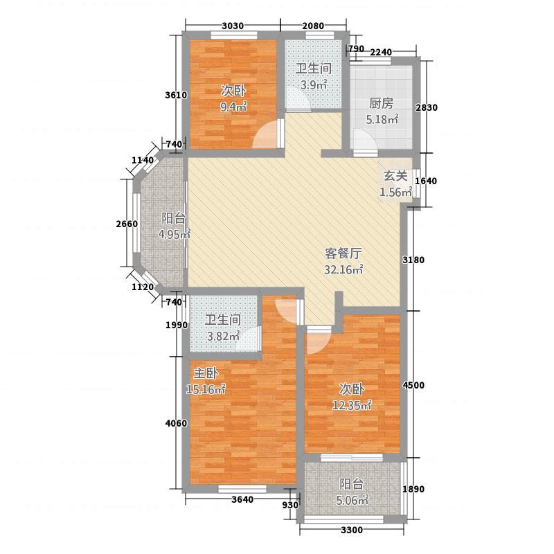 御水帝景城13132.20㎡1#、3#、5#、10#楼边户A户型3室2厅2卫1厨