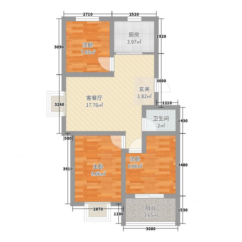 YOHO美寓3477.20㎡3号楼4号楼A户型3室2厅1卫1厨