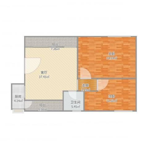 金沙新城2室1厅1卫1厨157.00㎡户型图