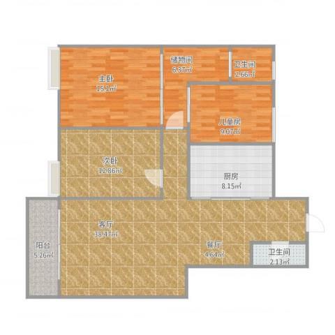 永大新城3室1厅2卫1厨135.00㎡户型图
