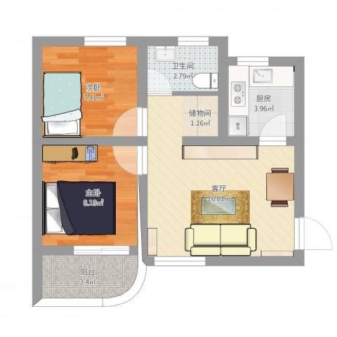 龙城花园2室1厅1卫1厨65.00㎡户型图