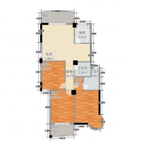 宏源大景城3室1厅2卫1厨332122.00㎡户型图